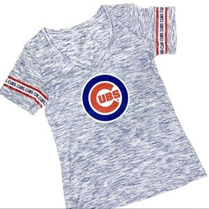 Chicago Cubs Baseball Blue White Heathered Tee L